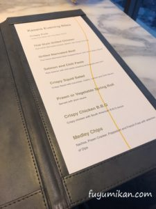 カサララウンジの軽食メニュー